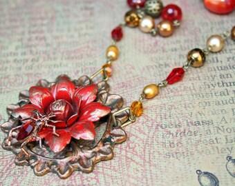 Steampunk Statement OOAK Necklace - Vintage Red Enamel Flower and Bug