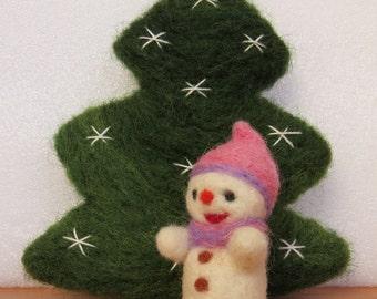 Handmade Needle Felted Snowman Christmas Decoration