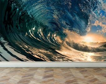 Wall Mural Ocean Wave, Peel and Stick Repositionable Fabric Wallpaper for Interior Home Decor