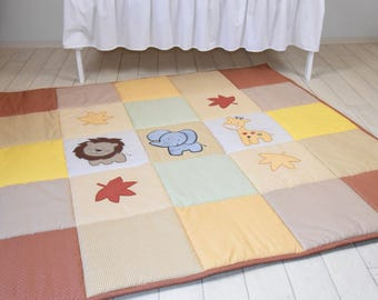 Baby Play Mat, Baby Mat , Baby Activity Mat, Jungle Baby Playmat, Playroom Decor, Yellow and Brown  Beige