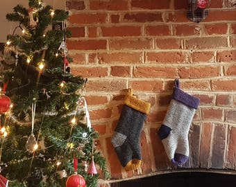 Knit a Garter Stitch Christmas Stocking | PDF Knitting Pattern | Knitted Stocking | The Little Songbird Knitting Co