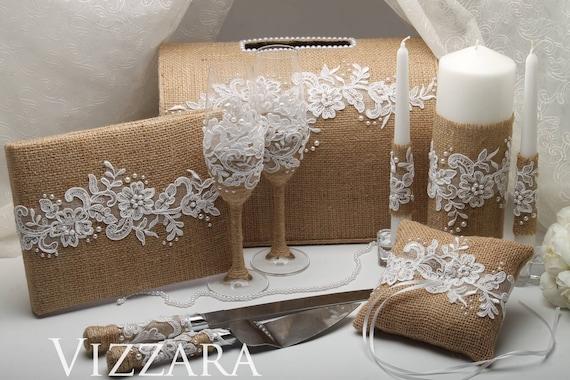 Lace Ring Pillow Wedding Guestbook Box Wedding Cake Knife Set