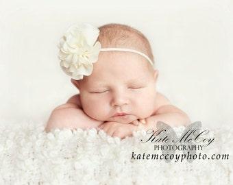 Ivory baby headband, infant headband, newborn headband, ivory headband, photo prop, chiffon flower headband, baptism christening headband