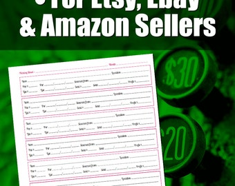 Picking Sheet For Etsy and Ebay Sellers | Etsy, Ebay or Amazon Sales Inventory Tool, Seller Tools, Listing Template, Inventory Management