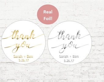Thank You Foil Stickers, Wedding Stickers, Wedding Favor Stickers, Wedding Stickers, Foil, Envelope Seal, Invites