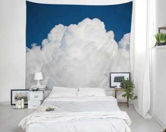 Sky Tapestries, Clouds Wall Art, Blue White Decor, Large Wall Hanging.
