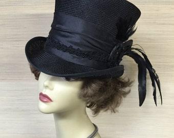 Straw Top Hat, Victorian Top Hat, Mad Hatter, Steampunk Hat, Kentucky Derby Hat, Alice in Wonderland, Women Top Hat, Black Top Hat