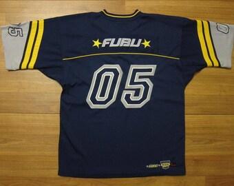 FUBU jersey, blue vintage hip hop t-shirt of 90s hip-hop clothing, 1990s hip hop shirt, OG, old school Fubu, gangsta rap, size L Large