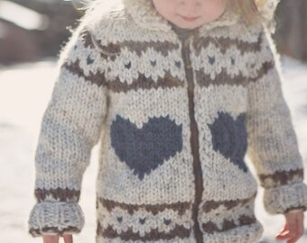 Heart sweater / zip up sweater / toddler sweater / knit sweater