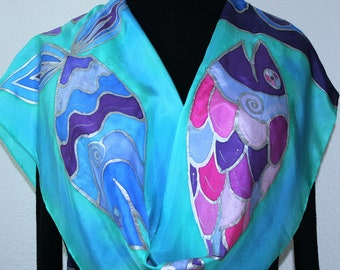 Teal, Purple Fish Silk Scarf Handpainted Handmade Silk Shawl THREE SMILING FISH, by Silk Scarves Colorado. Select Your Size! Christmas Gift