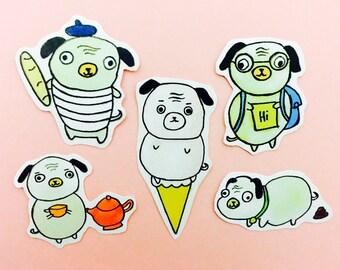 dog sticker, pug planner stickers, pug stickers, planner and filofax stickers,dog stickers, kawaii stickers, hobonichi stickers, pug planner