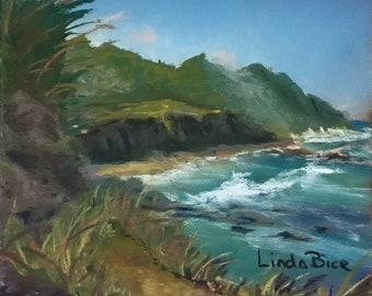 Seaside Hike - small Original pastel painting