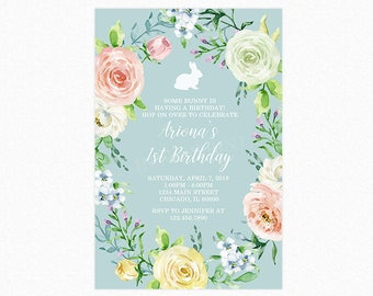Bunny Rabbit Birthday Party Invitation, Floral Watercolor Wreath, 1st Birthday, Printable or Printed