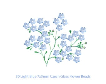 Light Blue Czech Glass Flower Beads Set of 30 Tiny 7x3mm Forget Me Not Spring Jewelry Idea DIY Earrings Necklace Bracelet Mother's Day Gifts