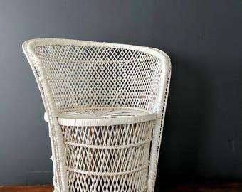 Vintage White Wicker Petite Side Chair