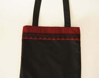 Gothic black and red hobo bag with black lace