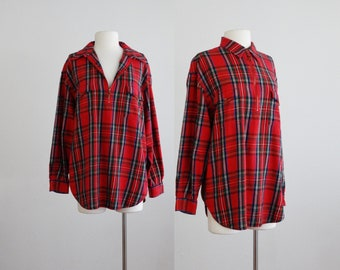 plaid flannel pullover - vintage red cotton shirt - long oversized zip up top blouse - 1980s 80s 1990s 90s - extra large l xl
