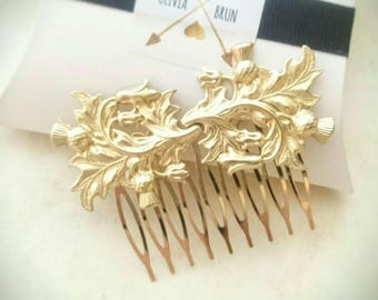 Gold Scottish Thistle Hair Comb Leaf Hair Comb Branch Hair Comb Scottish Wedding Hair Comb Hair Accessories Scottish Jewelry Thistle Jewelry