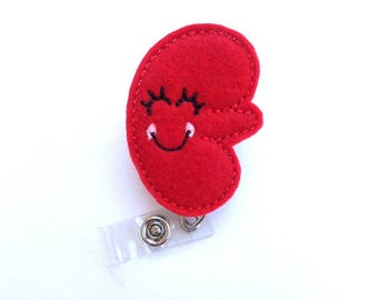 Retractable badge holder - Happy Kidney - red felt kidney badge reel - dialysis technician nephrologist nurse