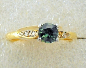 Blue/Green Sapphire and Diamond Ring