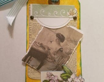 Victorian inspired Altered Art Mixed Media Tag