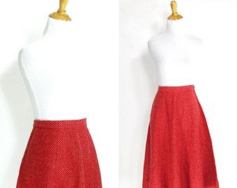 Vintage 1950s Skirt | 1950s Jantzen Wool Flared A-Line Skirt | Pink Red | Medium M