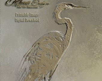 Blue Heron Print, wall art, metallic painting, Top Selling Shop
