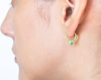 Tiny hoop earrings. turquoise jewelry. delicate earrings. tiny gold hoops tribal cartilage earring. tiny hoops. helix earring.