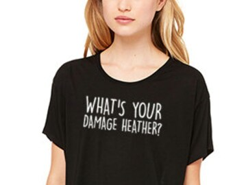 What's Your Damage Heather? Boxy Womens Tee, Heather Shirt