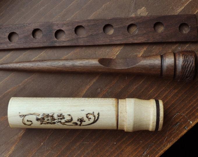 Walnut wood stitch lay tool/maple needle case and a small walnut wood thread palette set