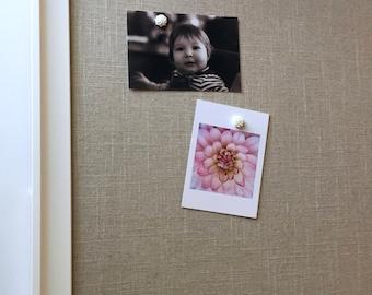 "Decorative framed magnetic bulletin board, Framed linen board, 19""x23"" office organizer, LARGE bulletin board, message center, neutral decor"
