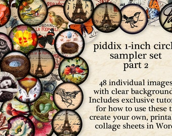 Best Selling Sampler Set 1-inch circles Part Two -- 48 separate circles with clear backgrounds AND digital collage sheet -- piddix 895b