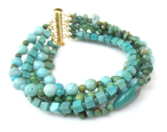 5 Strand Turquoise Beaded Bracelet with 14k gf Bar Clasp - Handmade Gemstone Jewelry