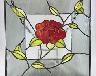 """Red Rose and Green Leaves With Grey Boarder Stained Glass Window Panel Sun Catcher 9 1/2"""" x 9 1/2"""""""