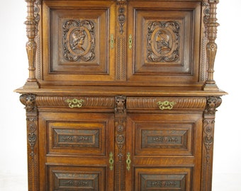 French Renaissance Cabinet, Heavily Carved Cabinet, France 1880, Antique  Furniture, B1124