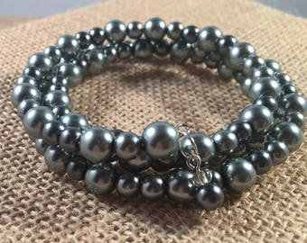 Gray Pearl beaded Memory Wire Bracelet, Silver Pearls, Memory Wire