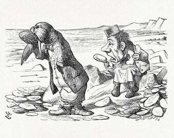 The Walrus and the Carpenter - Alice:  Through the Looking-Glass classic poster print  based on  illustration by J. Tenniel print #101