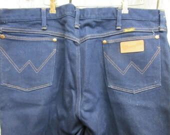 Wrangler blue jeans, 44 by 30 mens, NOS denim, 65 cotton 35 poly, deadstock denim, unisex blue jeans, vintage westernwear, cowboy blue