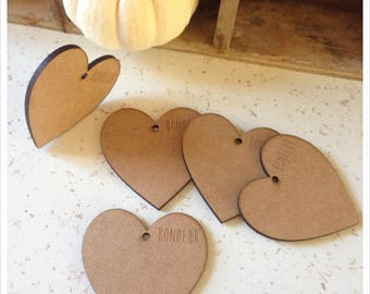 Set of 5 pretty hearts blank height 6.5 cm