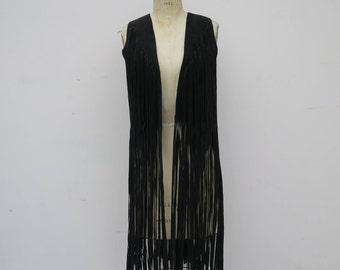 0787 - American Vintage - Black Leather Suede Vest