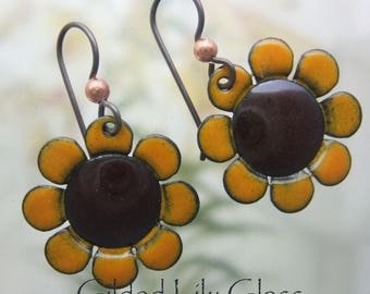 Sunflower Enamel Earrings, Copper Enamel Jewelry handmade in North Carolina