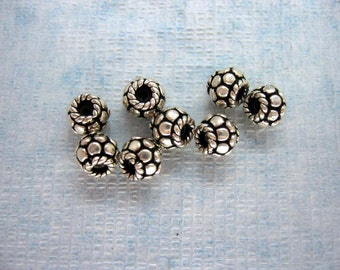 8 Pcs Indian Handmade Antique 925 Sterling Silver Disc Twisted Rope Spacer Beads