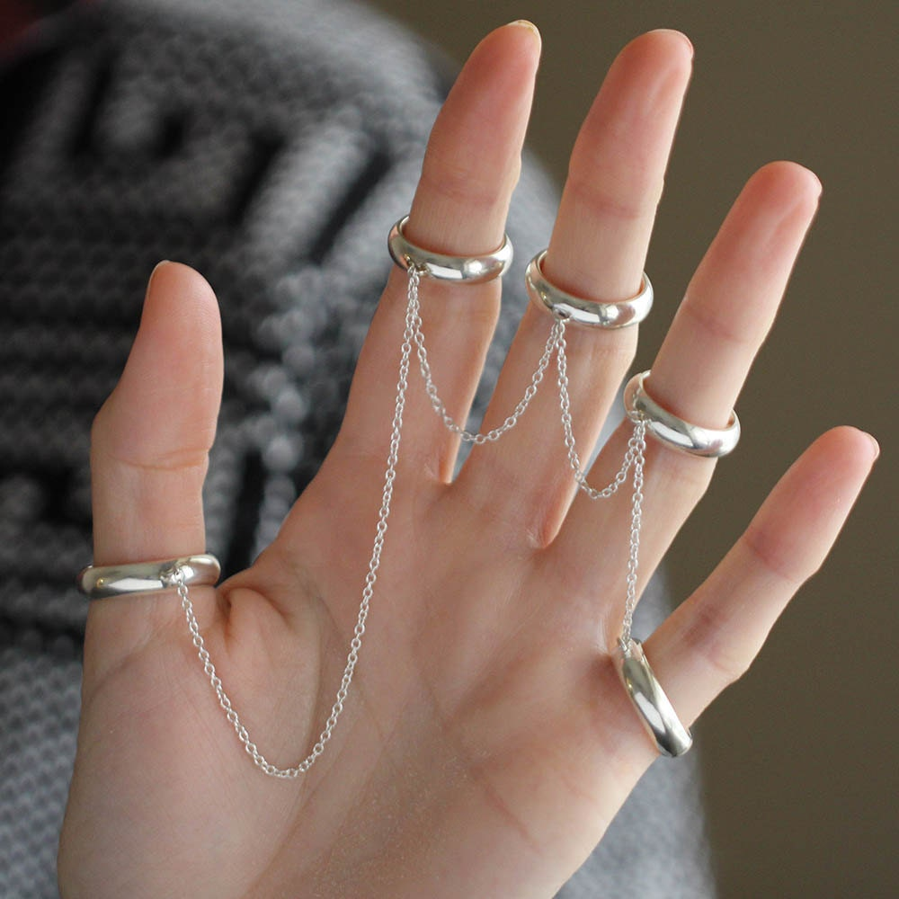 Five Finger Chain Ring Midi Rings Womens Chain Link Ring
