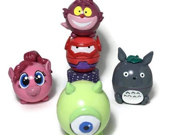 Custom EOS lip balm, lovely meaningful gift, reference to tsum tsum, Cheshire cat Alice in wonderland, Bay Max, Little Pony, Totoro, Mike