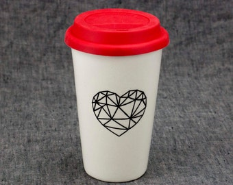 16oz Hand Painted Travel Mug with Faceted Heart