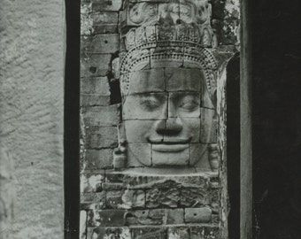 The temples at Angor Thom, Cambodia ... a large black & white photograph from the 1960's