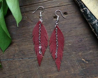 Recycled Leather Feather Earrings W/ Chain in Red // Handmade // Witchy // Sustainable // Upcycle // Recycled // Boho // Free Spirit