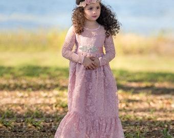 flower girl dress,  pink girl lace dress, Dusty Rose lace dress, Country Rustic flower girl dress,long sleeve lace dress,Flower girl dresses