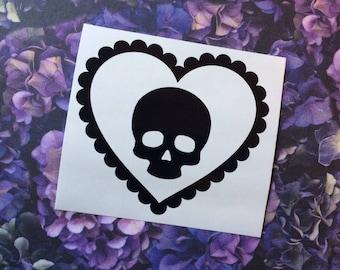 Macabre Love Hearts - Skull - Car decal, Laptop sticker, Spooky, Macabre, Gorey, Lolita, Spooky cute