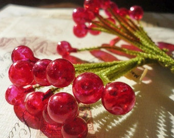 Vintage Millinery Scarlet Glass Berries with Chenille Stems